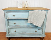 S O L D Antique vintage farmhouse cottage shabby chic dresser tv stand entryway table changing table console table Ethan Allen blue