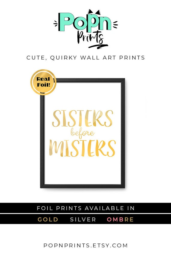 Funny Sister Birthday Gift Gold Foil Prints Wall Art Quirky