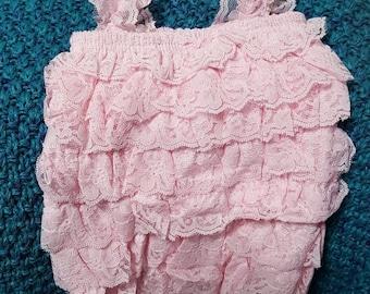 Pink Lace Romper Size S 0/6M