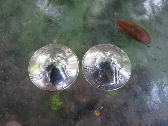 US Silver Quarter Buttons - United States Washingt