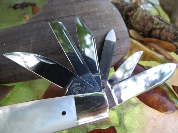 Fight'n Rooster 12 Blade Mother of Pearl Knife - 1985 Multi Blade MOP  German Pocket Knife