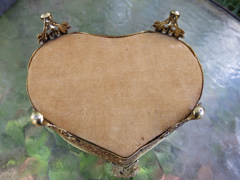 Old Trinket Box Jewelry Box Antique Heart Shape Ormolu Dresser Box with Beveled Glass