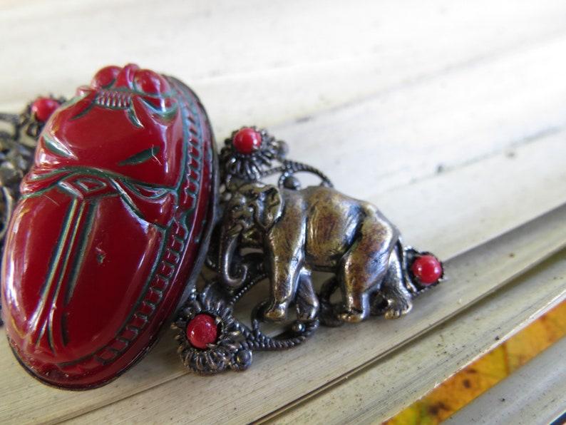 Antique Elephant Pin Czechoslovakia Jewelry Czech Glass Scarab Beetle Brooch