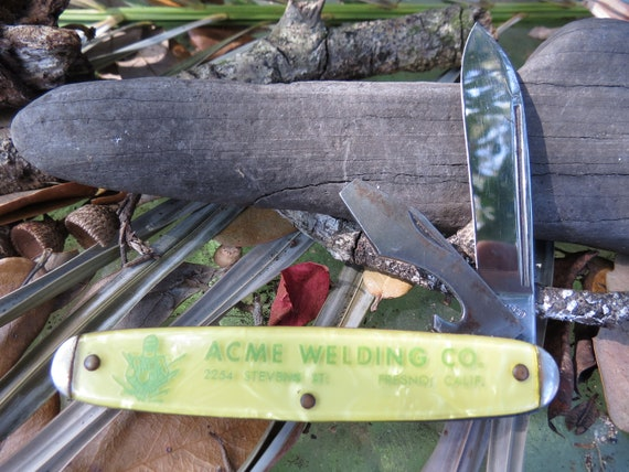 Celluloid Handle Pocket Knife Camco Usa Knife Acme Welding Etsy