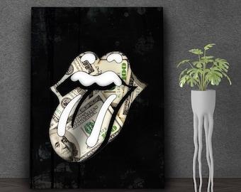 Money Lips Canvas Art, Lips Modern Canvas Wall Art, Money Art, Inspirational Art, Money Canvas Art, Wall Decor, Lips Art, Boss Gift