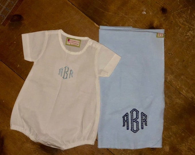 Featured listing image: Monogrammed  baby bubble with monogrammed applique' receiving blanket