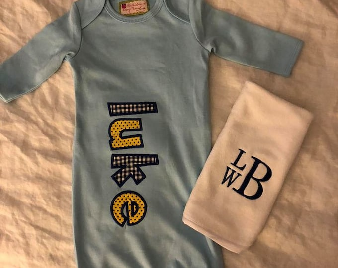 Featured listing image: Customized Baby Gowns and Burp Cloths