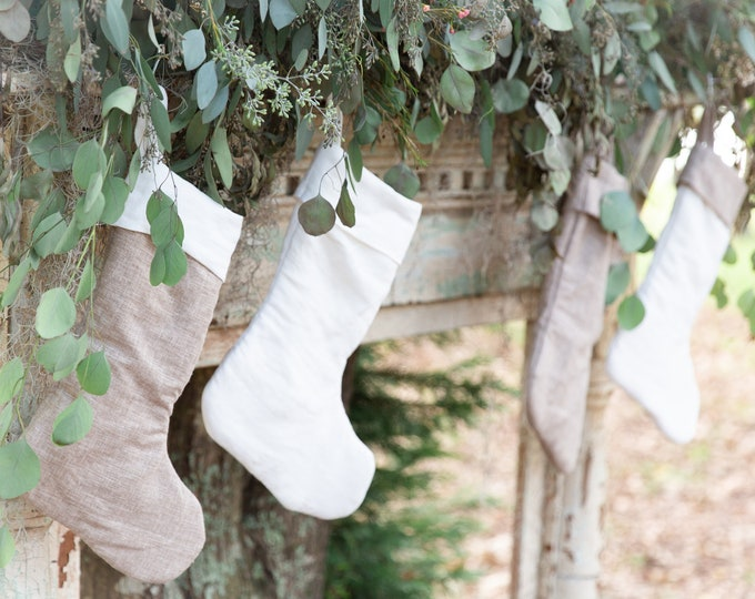 Featured listing image: Linen Christmas Stockings, Personalized Christmas Stockings, Farmhouse Style Christmas stockings, Rustic elegance