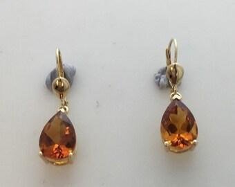 14 Kt gold citrine drop earrings