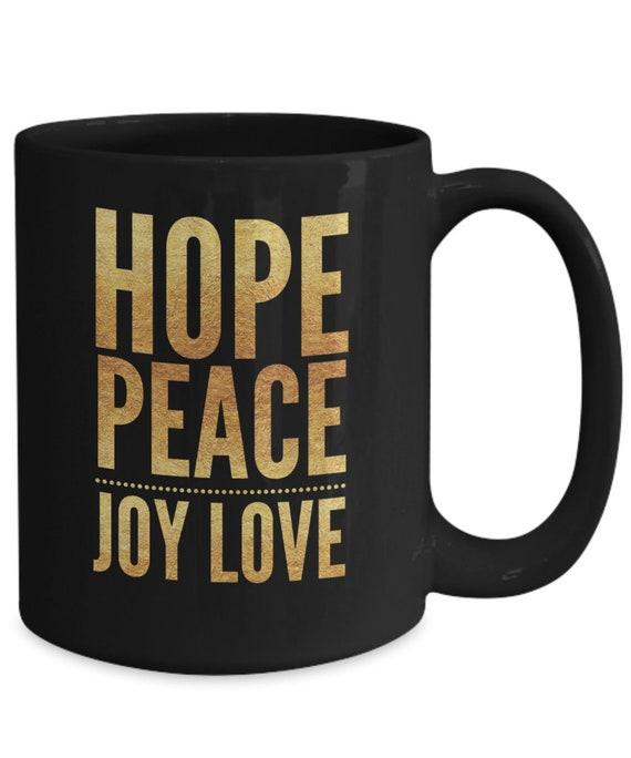 Advent Mug Hope Peace Joy Love Black Mug Advent Gifts Etsy