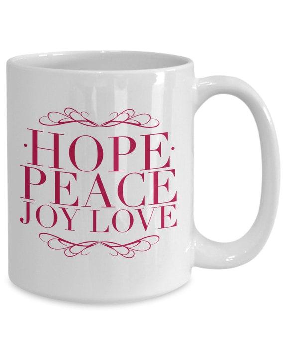 Advent Mug Hope Peace Joy Love Coffee Mug Advent Gifts Etsy