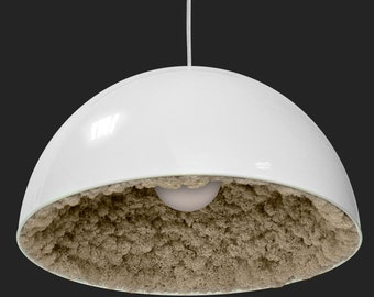 Ceiling White lamp with moss