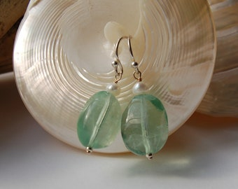 Semi-precious flourite, freshwater pearls and sterling silver earrings