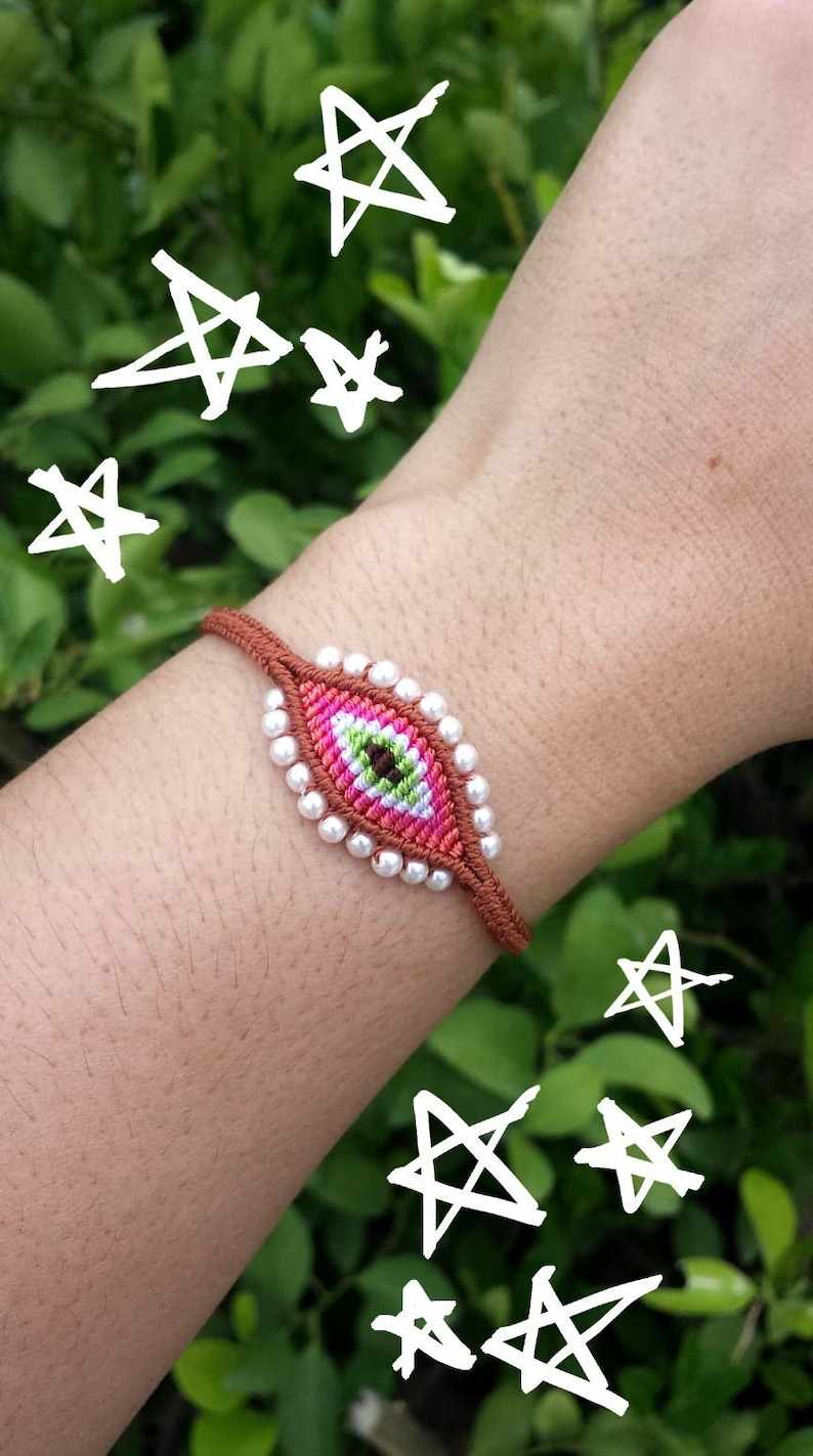 Evil Eye Macrame BraceletTurkish Eye BraceletEvil Eye Woven BraceletMacrame Boho Evil Eye Bracelet With Beads