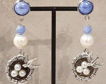 Argent Sterling 925 Nid d/'Oiseau Clous d/'oreilles œuf de Pâques Bijoux Cadeau Perles