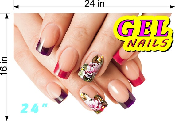 Gel II Perforated Mesh One Way Vision Window See Through Sign Salon Poster Vinyl Advertising Decor Nails Vertical