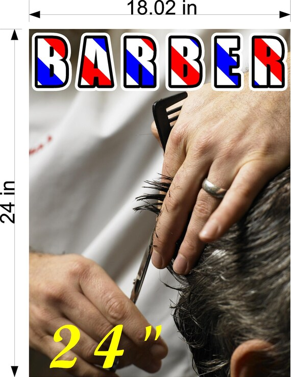 Barber I Hair Cut Salon Wallpaper Poster With Adhesive Backing Wall Sticker Decor Indoors Interior Sign Vertical