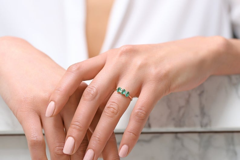 Natural Emerald Gemstone Dainty Ring Minimalist 925 Silver Jewelry  Emerald Ring  Sterling Silver Ring  Gift for her  Minimalist Ring
