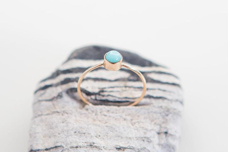 club party Natural Amazonite Gemstone Delicate Ring Handmade 925 Silver Dainty Jewelry Minimalist Jewel Gift Stackable Ring for her