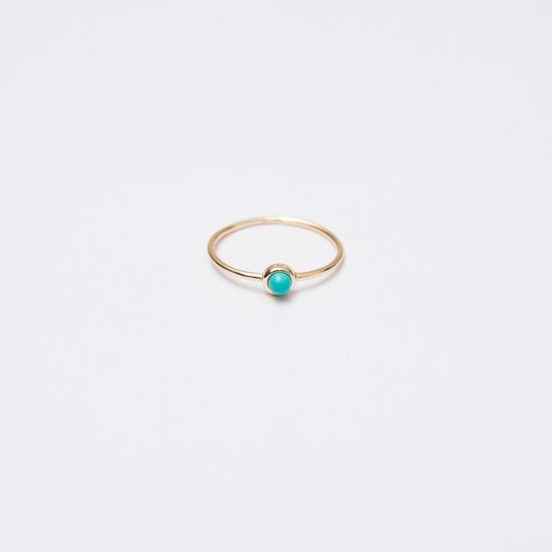 Turquoise 925 Silver Ring Gemstone Jewelry Minimalist Engagement Ring for her Zircon Gold Stackable Ring Set of 4 Two Ball Cross