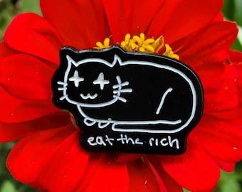 Eat the Rich Cat Glow-in-the-Dark Enamel Pin