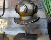 Handmade Deep Sea Divers Helmet Mantel Clock Vintage Style Metal Desk Table Décor GIFT