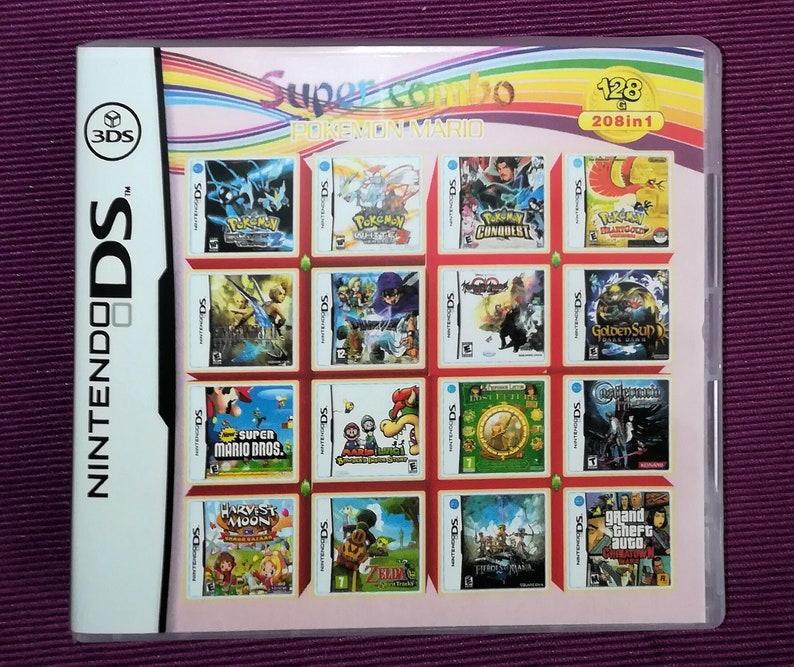 208 in 1 Cartridge Multicart Nintendo DS NDS 2DS 3DS XL Games Game Zelda  Dragon Castlevania Mario Sonic Harvest Final Fantasy Kirby Metroid