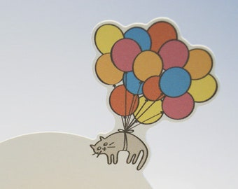 "Birthday Card ""Balloon Cat"" Pop-Up Card"
