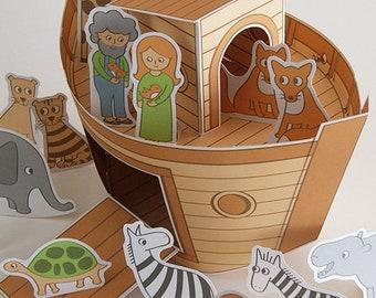 "Craft book ""Noah's Ark"" DIY tinker animal & ark cardboard zebra lion fox cat mouse tiger elephant hippo giraffe"