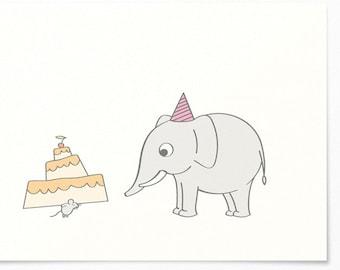 Birthday Card - Mouse & Elephant - Congratulations Card / Birthday Greeting Card - Happy Birthday - Birthday Cake