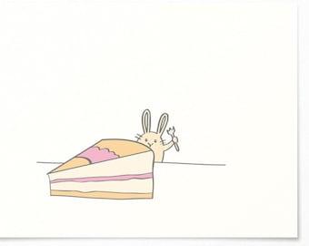 Birthday Card - Bunny & Cake - Congratulations Card / Birthday Greeting Card - Happy Birthday