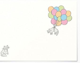 Birthday Card - Cats & Balloons - Congratulations Card / Birthday Greeting Card - Happy Birthday - Balloon Cat