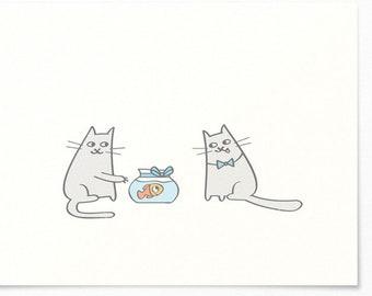 Birthday Card - Cats & Goldfish - Congratulations Card / Birthday Greeting Card - Happy Birthday - Kids Child
