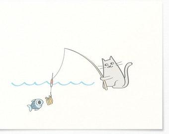 Birthday Card - Cat Fishing Fish with Gift - Congratulations Card / Birthday Invitation Card - Happy Birthday