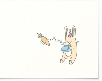 Birthday Card - Bunny & Spring Devil Carrot - Congratulations Card / Birthday Invitation Card - Happy Birthday