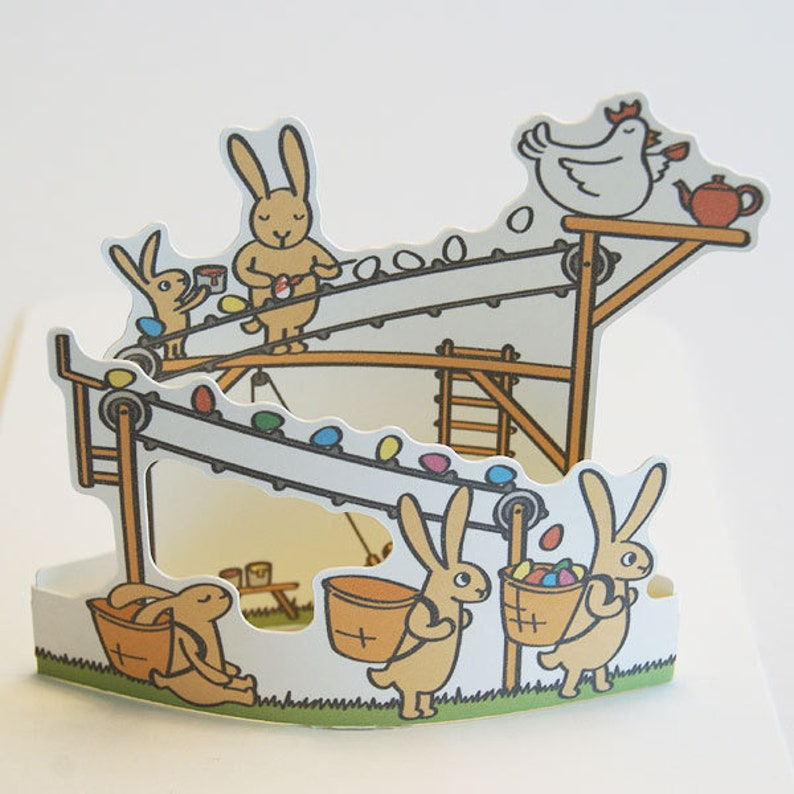Pop-up card Easter Bunny Factory Easter card image 0