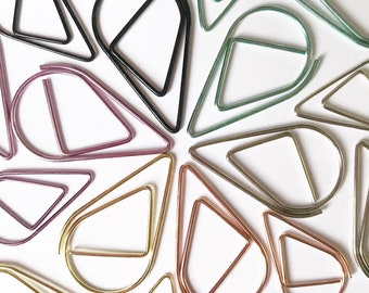 5pc Raindrop Paperclips / Gold Silver Rose Gold Turquoise Purple and Black Paperclips