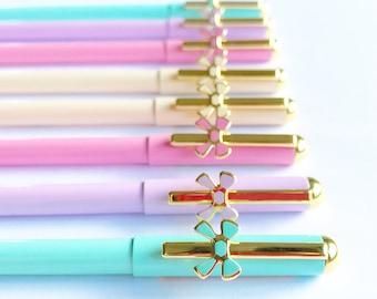 Metal Bow Gel Pen / Black Ink 0.5mm / Pink Purple Green Cream Pastel Gold / Stationery School Supplies Office Supplies