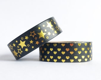 Black and Gold Washi Tape / Hearts Stars / Planners Journals Craft Scrapbooking