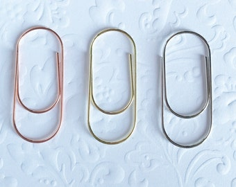 4 pc Wide Metallic Paper Clip / Rose Gold Silver Gold / Stationery Weddings School Supplies