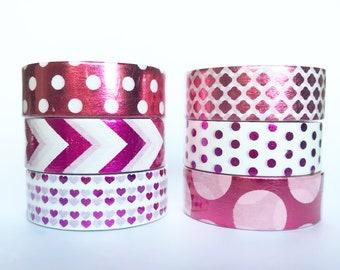 Hot Pink and Purple Foil Washi / Chevron Quatrefoil Four-leaf clover hearts polka dots / Planners Journals Craft Scrapbooking
