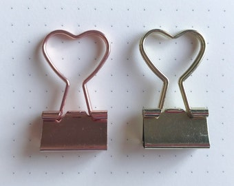 2pc Heart Binder Clip / Gold and Rose Gold