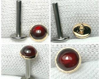 14g Labret Piercing/14K Solid gold Top 5.40mm Bezel Natural Garnet Internally Threaded Tragus piercing/Medusa piercing/cartilage piercing