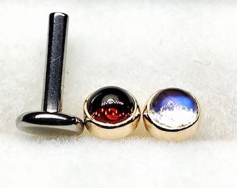14K Solid Gold 16g Titanium Threadless Gemstone Natural 3.5mm /Tragus Cartilage Medusa philthrum piercing Helix Rook Conch Lips Daith Snug