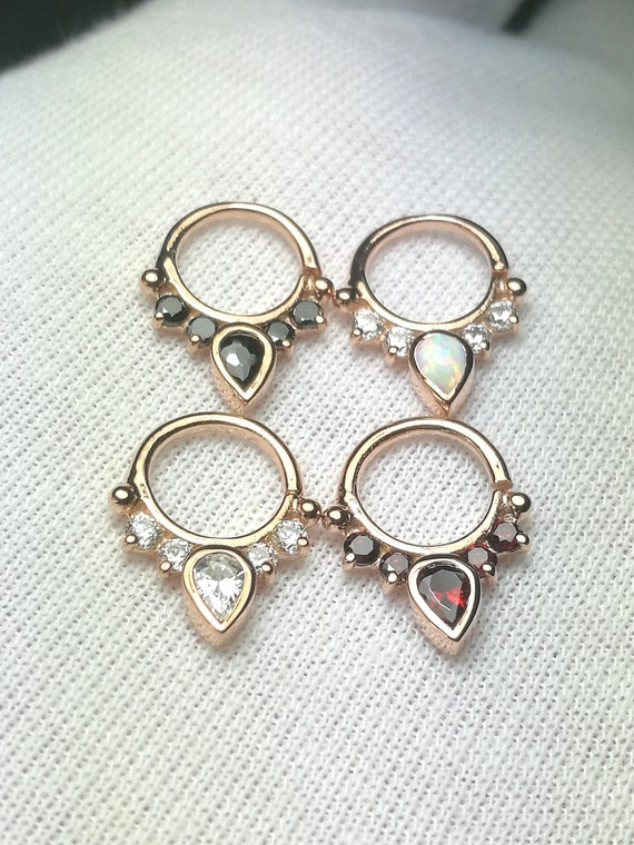 Rose Gold Plated Helix Daith 925 Sterling Silver Septum Ring 16g Premium CZ