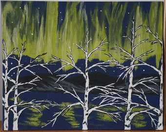Birch Trees and Lake in Aurora/Northern Lights