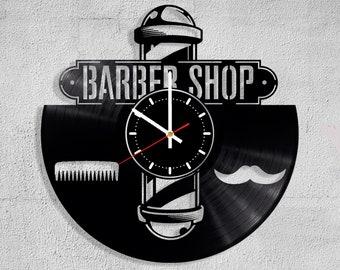Vinyl Record Wall Clock Barber Shop Hair Hairdresser Style Beauty Beard Vintage Gift Handmade Decorate Gift Art Decor Home decor Kids Clock