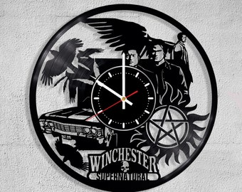 Vinyl Record Wall Clock Supernatural Sam Dean Winchester Castiel Angel TV Show Series  Handmade Decorate Gift Art Decor Home decor Clock