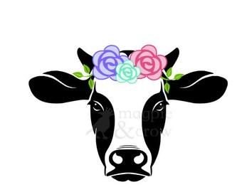 Floral Cow SVG, Floral Heifer SVG, Bandana Cow SVG, Bandana Heifer svg, 4H, Rosie Riveter inspired flower cow Cut File for Cricut/Silhouette