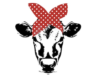 Bandana Cow SVG Rosie Riveter inspired Heifer Red Bow Cut File for Cricut/Silhouette HTV Shirt Vinyl Decals Bandana Cow Cut File Vector 4H